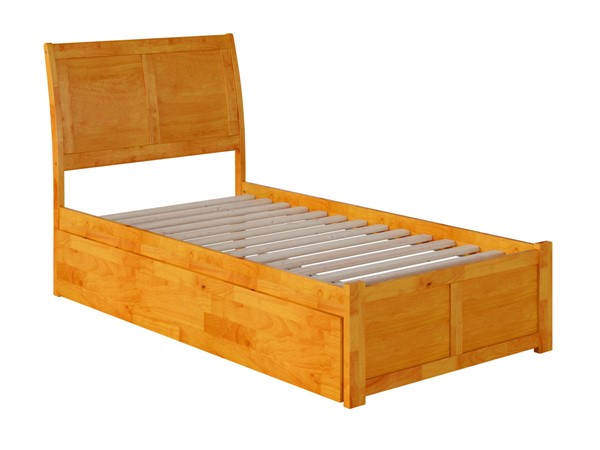 Atlantic Furniture Portland Caramel Twin XL Trundle Bed with Footboard AR8912047