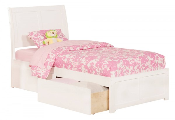 Atlantic Furniture Portland White Flat Panel Footboard and Two Urban Drawers Twin XL Bed AR8912112