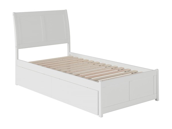 Atlantic Furniture Portland White 2 Urban Drawers Twin XL Platform Bed with Matching Foot Board AR8916112