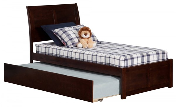 Atlantic Furniture Portland Walnut Flat Panel Footboard and Urban Trundle Twin Bed AR8922014