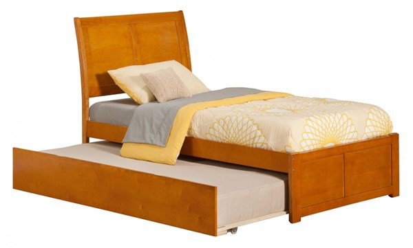 Atlantic Furniture Portland Caramel Latte Flat Panel Footboard and Urban Trundle Twin Bed AR8922017