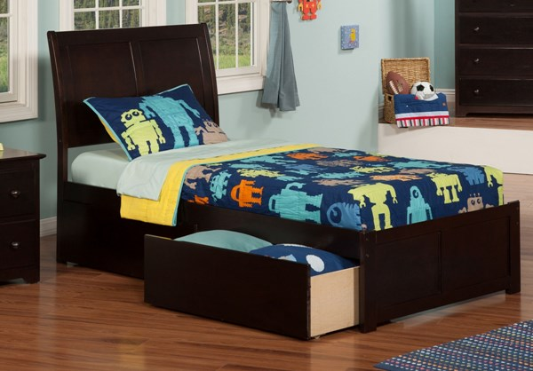 Atlantic Furniture Portland Two Flat Panel Footboard and Urban Drawers Beds AR89-KBEDS-VAR2