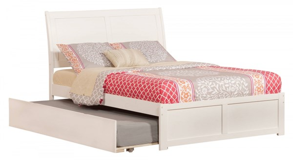 Portland White Wood Flat Panel Footboard & Urban Trundle Full Bed AR8932012