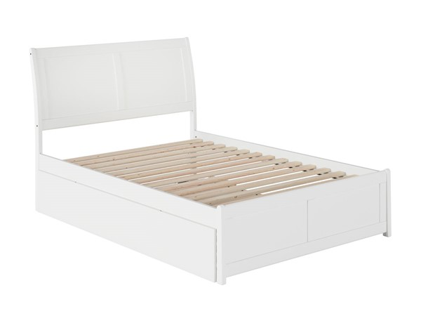 Atlantic Furniture Portland White Full Platform Urban Trundle Bed with Matching Foot Board AR8936052