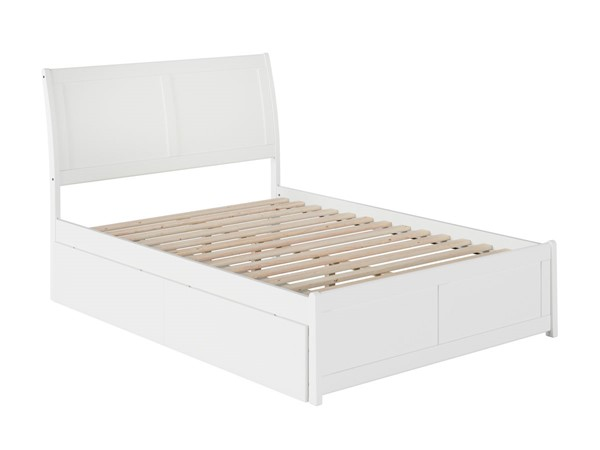 Atlantic Furniture Portland White 2 Urban Drawers Full Platform Bed with Matching Foot Board AR8936112