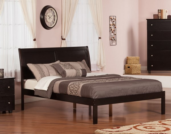 Portland Traditional Espresso Walnut Caramel Latte Wood Platform Beds AR894-895-BEDS