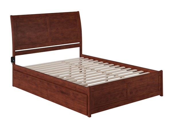 Atlantic Furniture Portland Walnut Queen Bed with Matching Footboard and Twin XL Trundle AR8946044