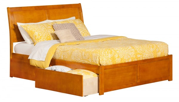 Portland Caramel Latte Flat Panel Footboard & Urban Drawers King Bed AR8952117