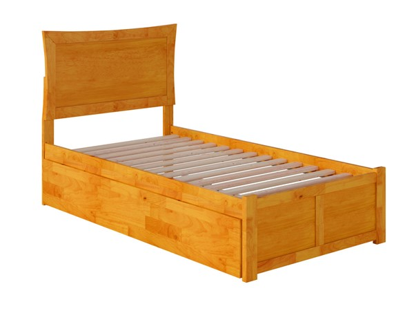Atlantic Furniture Metro Caramel Twin XL Bed with Footboard and Twin XL Trundle AR9012047