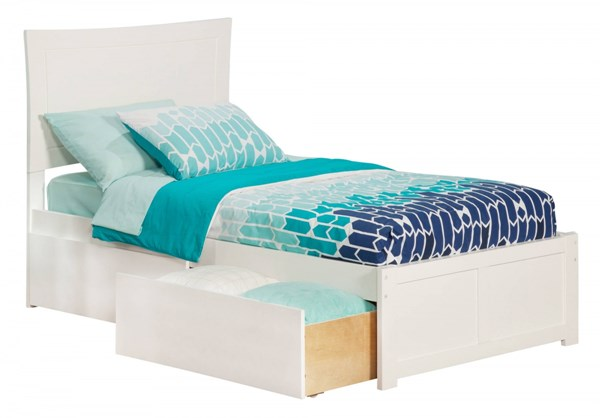 Metro White Wood Flat Footboard & Urban Drawers Twin Extra Long Bed AR9012112