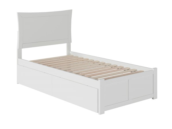 Atlantic Furniture Metro White Flat Panel Footboard and Two Urban Drawers Twin XL Bed AR9012112