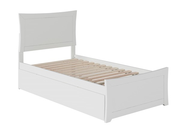Atlantic Furniture Metro White Twin XL Bed with Matching Footboard and Twin XL Trundle AR9016042