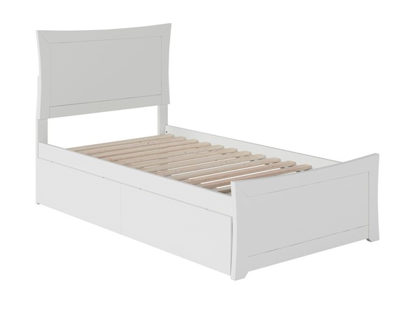 Atlantic Furniture Metro White Twin XL Bed with Matching Foot Board and 2 Urban Drawers AR9016112