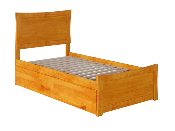 Atlantic Furniture Metro Caramel Twin XL Bed with Matching Foot Board and 2 Urban Drawers AR9016117