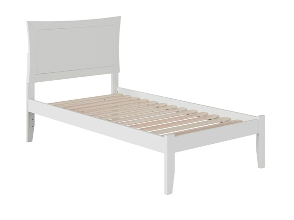 Atlantic Furniture Metro White Twin Bed with Open Foot Rail AR9021002