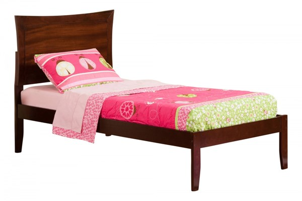 Metro Traditional Walnut Wood Twin Platform Open Foot Bed AR9021004
