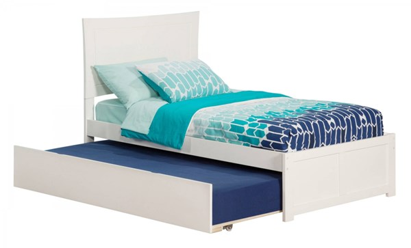Metro White Wood Flat Panel Footboard & Urban Trundle Twin Bed AR9022012
