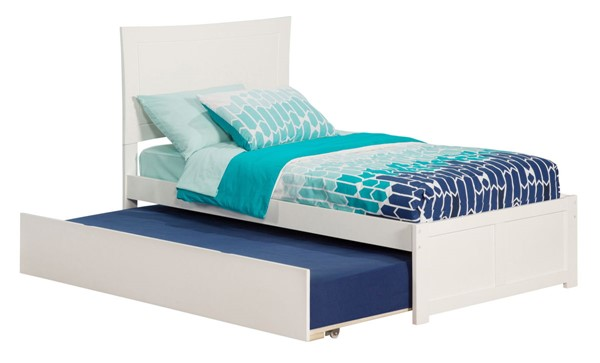 Atlantic Furniture Metro White Flat Panel Footboard and Urban Trundle Twin Bed AR9022012