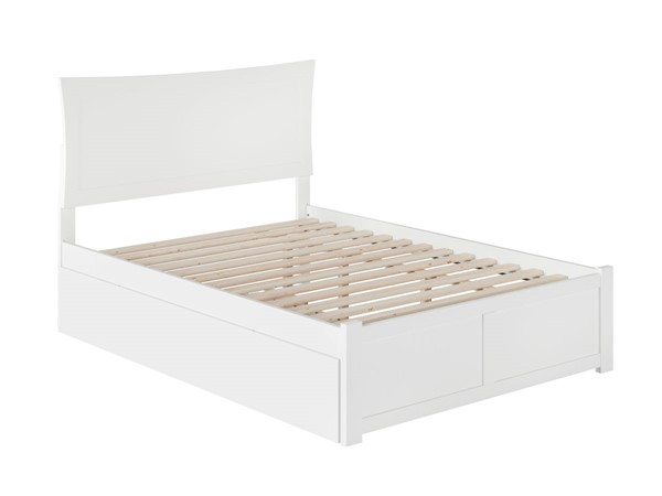 Atlantic Furniture Metro White Full Flat Panel Footboard and Twin Urban Trundle Platform Bed AR9032012