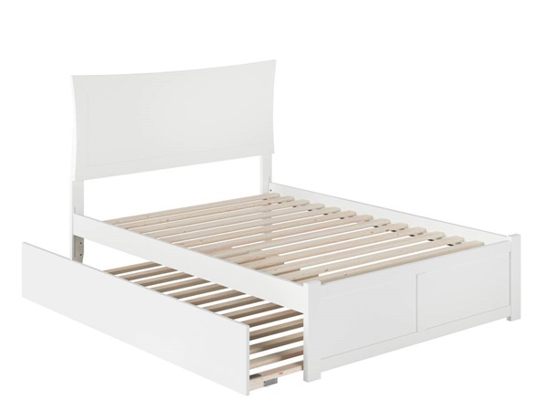 Atlantic Furniture Metro White Full Platform Urban Trundle Bed with Flat Panel Footboard AR9032052