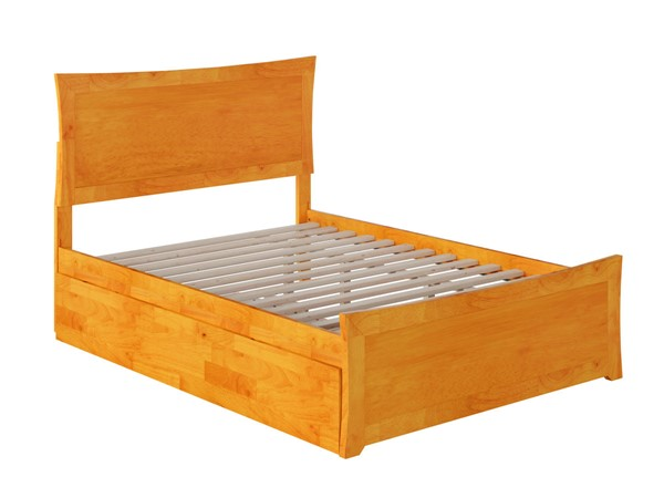 Atlantic Furniture Metro Caramel Full Bed with Matching Foot Board and Twin Urban Trundle AR9036017