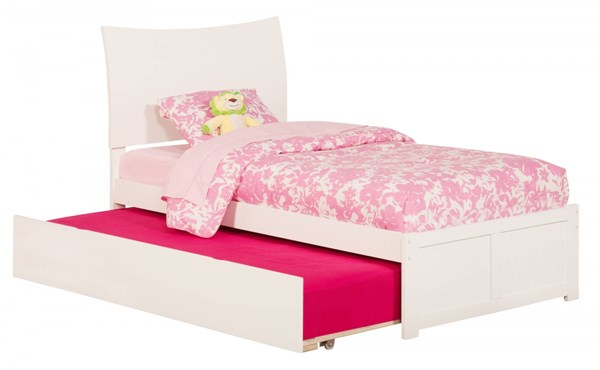 Atlantic Furniture Soho White Flat Panel Footboard and Urban Trundle Twin Bed AR9122012