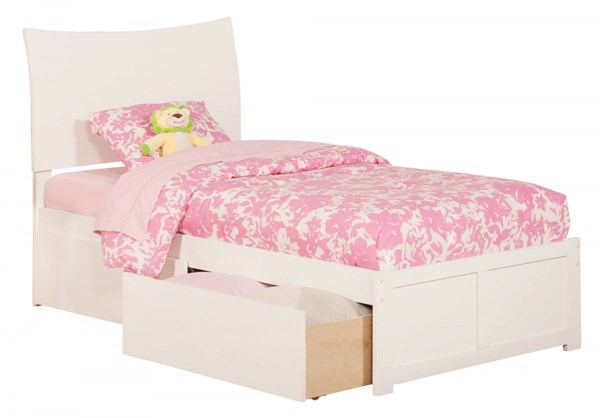 Atlantic Furniture Soho White Flat Panel Footboard and Two Urban Drawers Twin Bed AR9122112
