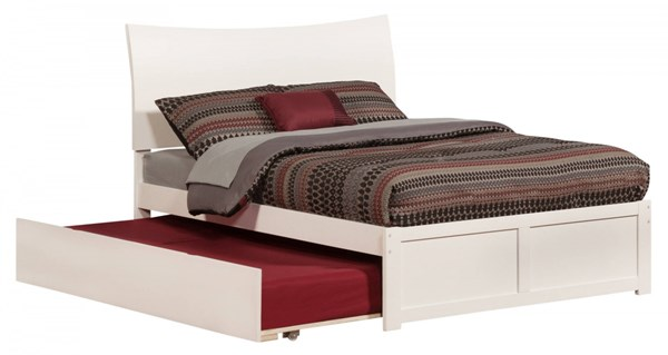 Soho White Wood Flat Panel Footboard & Urban Trundle Full Bed AR9132012