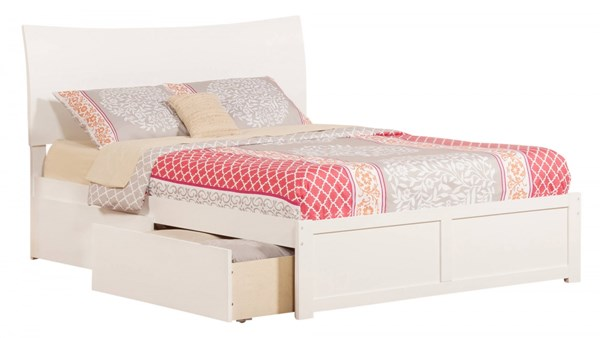Soho White Wood Flat Panel Footboard & Urban Drawers Queen Bed AR9142112