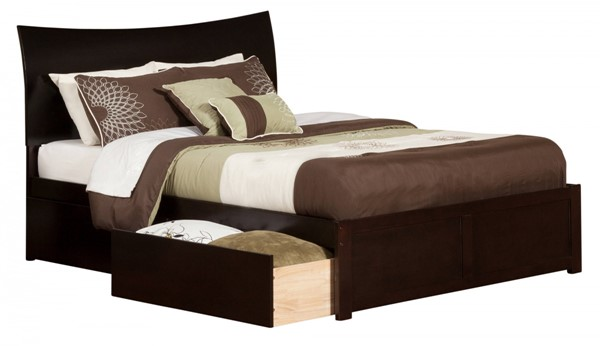 Soho Espresso Wood Flat Panel Footboard & Urban Drawers King Bed AR9152111