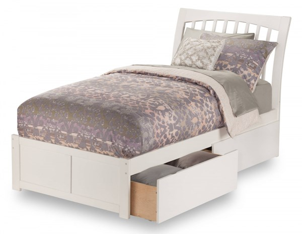 Orleans White Wood Flat Panel Footboard & Urban Drawers Twin XL Bed AR9212112