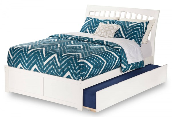 Orleans White Flat Panel Footboard & Urban Trundle Full Bed AR9232012