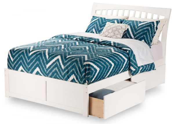 Orleans White Wood Flat Panel Footboard & Urban Drawers Queen Bed AR9242112