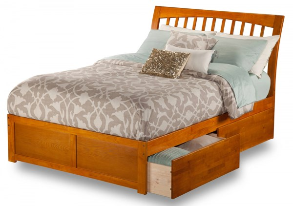 Orleans Caramel Wood Flat Panel Footboard & Urban Drawers Queen Bed AR9242117