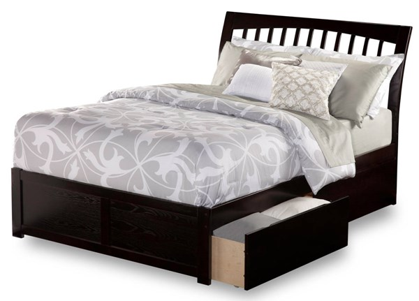 Orleans Espresso Wood Flat Panel Footboard & Urban Drawers King Bed AR9252111