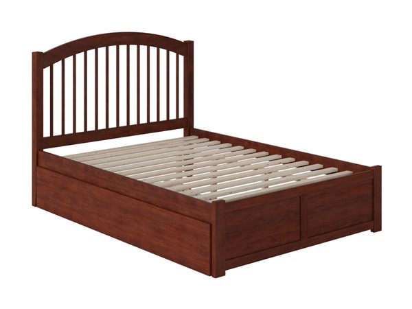 Atlantic Furniture Windsor Walnut Twin Platform Urban Trundle Bed with Flat Panel Footboard AR9422014