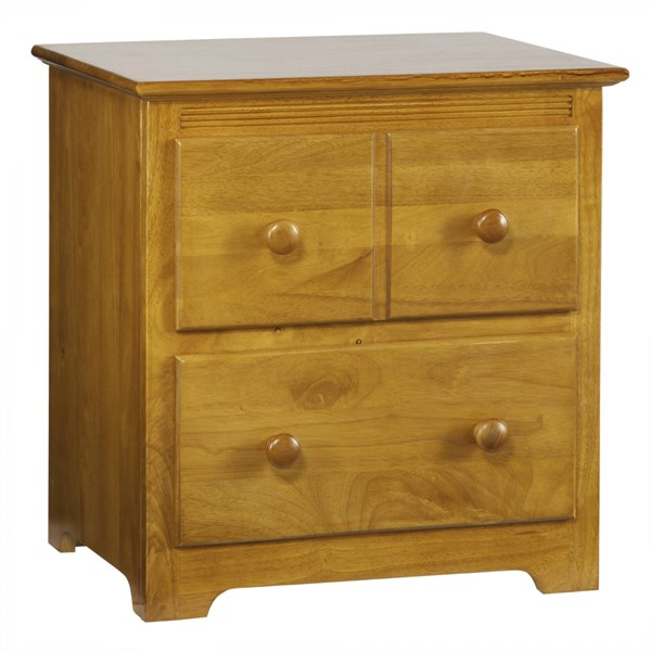 Windsor Caramel Latte Wood Two Drawers Round Knobs Nightstand C-69207