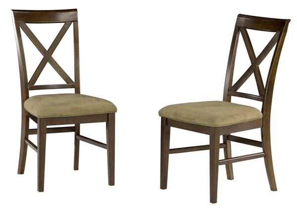 Lexi Antique Walnut Dining Chairs W/Cappuccino Cushions Seat AD772134