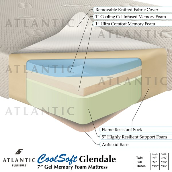 Atlantic Furniture Coolsoft Glendale Memory Gel Mattress M-4630-VAR