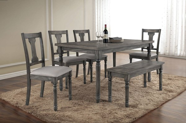 Wallace Blue Grey Wood Fabric 6pc Dining Room Set ACM-71435-DR-S2