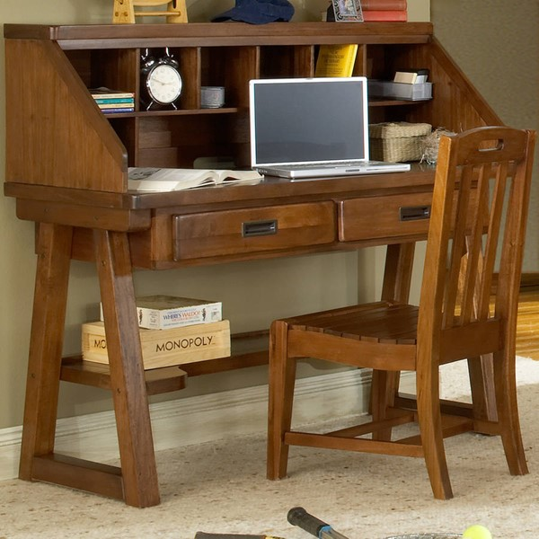 American Woodcrafters Heartland Brown Desk and Hutch AWC-1800-343