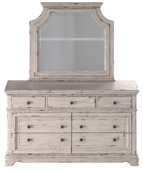 American Woodcrafters Providence Antique White 7 Drawer Dresser and Mirror AWC-1910-DRMR