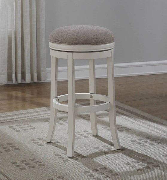 American Woodcrafters Distressed Antique White Backless Bar Stool AWC-B2-204-30F