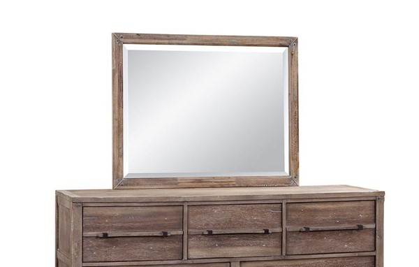 American Woodcrafters Aurora Weathered Grey Landscape Mirror AWC-2800-040