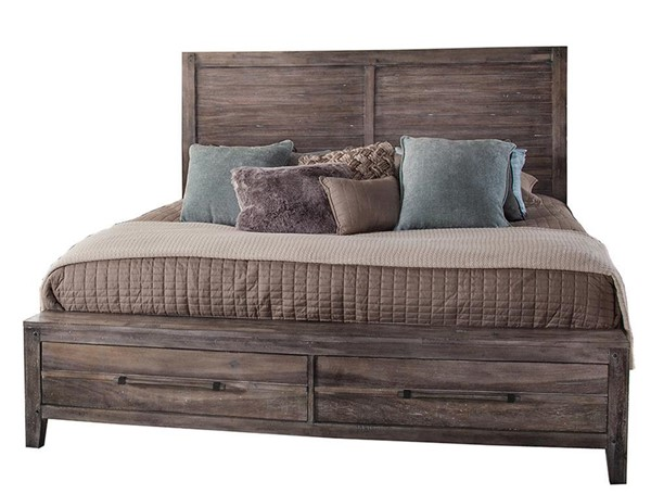 American Woodcrafters Aurora Weathered Grey Panel Storage Beds AWC-2800-PNST-BED-VAR