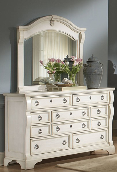 American Woodcrafters Heirloom Antique White Dresser and Mirror AWC-2910-210-040-DRMR