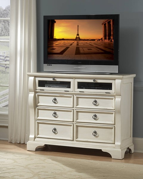 American Woodcrafters Heirloom Antique White Entertainment Chest AWC-2910-232