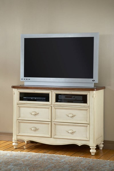 American Woodcrafters Chateau Antique White Brown TV Stand AWC-3501-232