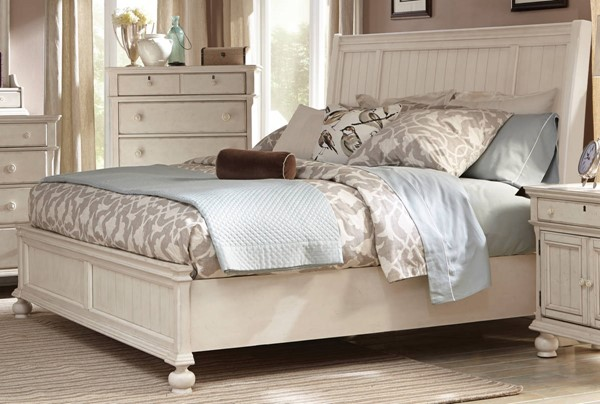 American Woodcrafters Newport Antique White Panel Beds AWC-3710-SLPN-BED-VAR
