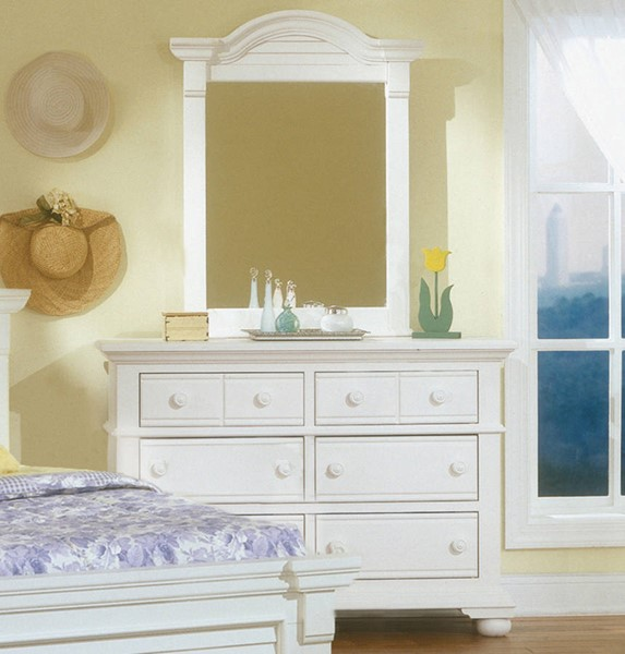 American Woodcrafters Cottage Traditions Double Dresser and Vertical Mirror AWC-6510-260-030-DRMR